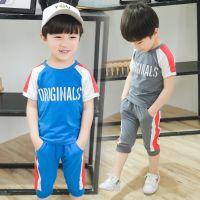 中小童套装2018夏季新款韩版男童胸前印花套装短袖厂家直销批发潮