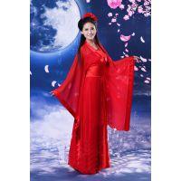 新款广袖流仙裙白色仙女小龙女古装刘亦菲倩女幽魂服装贵妃装汉服