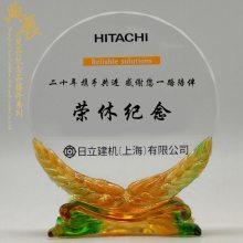 部队赠送复员战友礼品 志愿兵荣誉奖杯奖牌 琉璃感谢牌定制厂家