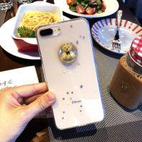 iPhone8韩国流沙TPU手机外壳可爱立体小熊闪粉透明卡通苹果X创意