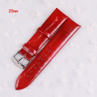 韩版时尚手表亮光真皮表带黑白红蓝紫18mm20mm代用表带 二层真皮