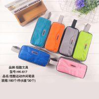 韩版时尚创意运动休闲帆布笔袋6色大容量多层铅笔袋学生文具盒