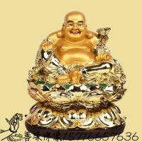 河南善缘佛像厂供应弥勒佛树脂贴金彩绘神像