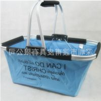 箱包手袋厂家加工定做牛津布单把可折叠手提购物篮