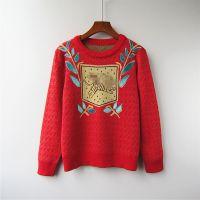 秋冬季新款女装圆领长袖打底衫提花刺绣飞虎图案羊毛混纺针织毛衣