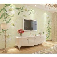 电视背景墙纸壁纸自粘大型壁画客厅卧室3d立体绿色百合花护眼