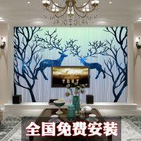3d立体手绘森林麋鹿大型壁画卧室沙发客厅电视背景墙纸无纺布壁纸
