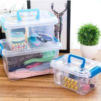 0009透明收纳箱收纳盒大号整理箱盒子小号塑料有盖玩具储物箱 K