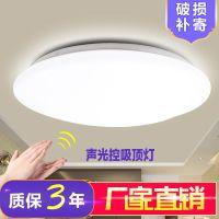 LED声光控吸顶灯阳台楼道楼梯车库走廊小区物业声控感应灯具全白