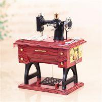 创意复古缝纫机音乐盒 复古仿木八音盒摆件 老师母亲节日礼物批发