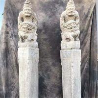 花岗岩仿古拴马桩石雕拴马柱胡人戏狮拴马柱酒店广场装饰摆件厂家直销