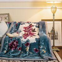 压花超柔拉舍尔毛毯 加厚双层冬季保暖毛毯8斤双人婚庆盖毯外贸