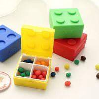 厂家供应创意糖果色乐高积木塑料药盒 户外迷你便携塑料收纳盒