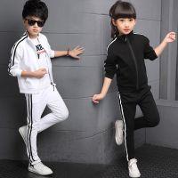 童装儿童学校运动会套装2018纯色男童女童中大童学生校服两件套装