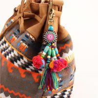 泰国嬉皮波西米亚风毛球木珠流苏包包挂饰挂件汽车装饰手工工艺品