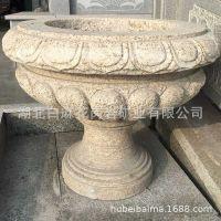 天然石头花盆欧式花钵大理石花盆黄锈石盆园林雕塑装饰厂家定制
