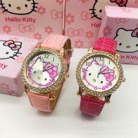 厂家供应小学生女童镶钻卡通手表 淘宝热卖hello kitty可爱手表