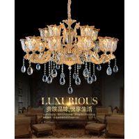 临沂生产厂家欧式奢玉石吊灯简欧水晶蜡烛客厅灯具锌合金卧室餐厅