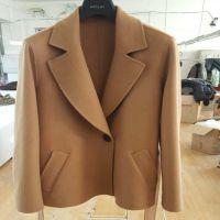 2017年春季工厂两色手缝羊绒短款腰带外套