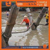 厂家定制网红摇摆桥 特色户外水上木板吊桥 刺激水上溜索吊桥