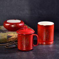 唐山亿美陶瓷办公杯三件套礼品套装 实用商务礼品批发 定制桌面摆件用品