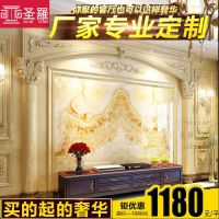 现代简约欧式瓷砖电视背景墙客厅3D微晶石影视墙罗马柱圆柱边框