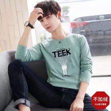 2018工厂直销几元纯棉男士印花长袖T恤衫批发 低价促销几元便宜男士印花T恤衫批发
