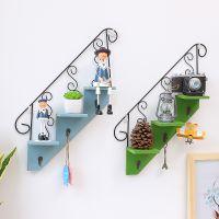 zakka创意做旧楼梯置物架 梯形挂钩墙上装饰花架客厅厨房收纳批发