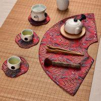 茶席茶垫 扇形绸缎中式小桌旗布艺茶巾茶杯垫干泡台壶承茶艺盘垫