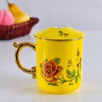 唐山亿美陶瓷色釉盖杯 骨瓷办公礼品杯子定制