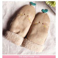 手套女冬季 新款鹿皮绒韩版可爱豆芽手套保暖学生包指手套