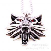 欧美男士个性时尚钛钢不锈钢钢色动物狼头吊坠项链ebay速卖通货源