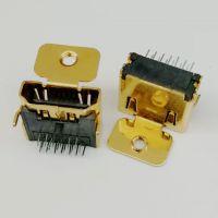 HDMI 19P-A型母座/90度插板DIP/带柱/带耳朵/带螺丝定位孔/铜壳镀金/HDMI高清接口