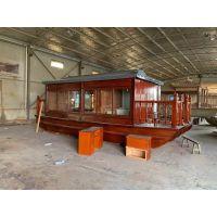 福建水库电动餐饮船 厂家定制木质游船 水上喝茶的船钓鱼船