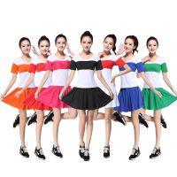 新款广场舞服装套装春夏季牛奶丝小苹果舞蹈服啦啦队短裙啦啦操
