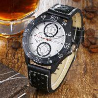 外贸热卖男士手表 数字刻度真皮表带 商务爆款男表男款石英表批发