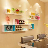 墙上挂壁柜餐厅背景墙面创意格子装饰架客厅墙壁搁板置物架