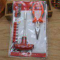 十元店五金工具热卖款803双吸老虎钳螺丝刀套装 维修工具一件代发