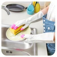 居家防油污家务手套 薄款耐用厨房清洁手套 洗碗洗衣服乳胶手套