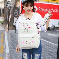 可爱卡通日韩版帆布潮小学生双肩包男女孩子学院背包初中学生书包