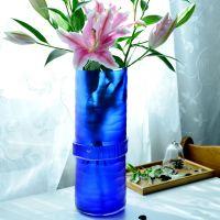 帝海晶 人工吹制彩色玻璃花瓶 客厅桌面家具摆饰刻磨腰带古兰花瓶