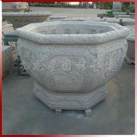 花岗岩仿古石花盆 定做加工立体浮雕花盆鱼缸