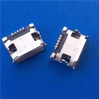 卷口MICRO USB母座5P 7.2脚距 两脚DIP插板 -SMT无柱有导位 短针 - 日宝