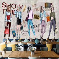 高清手绘化妆品服装店工装背景墙壁画 3D立体壁布 个性定制无缝壁