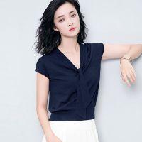冰丝短袖T恤女套头2018夏季新款韩版蝙蝠袖上衣V领薄款修身针织衫