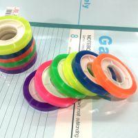 12卷价 彩虹文具胶窄学生彩色小胶条手工胶带0.8cm宽DIY透明胶带
