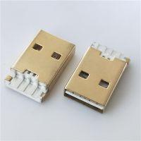 USB2.0 双面插 AM焊线式 正反插 公头 短体L=19.1mm带接地白胶 铁壳 镀金