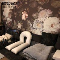 复古玫瑰花纹电视背景墙墙纸无纺布无缝定制墙布创意个性大型壁画