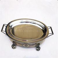 海鲜大咖盘园形大炉子批发  椭园不锈钢海鲜铜火锅 碳烤炉