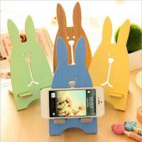 T韩国创意时尚手机座 可爱越狱兔手机支架 木质手机架 手机托架